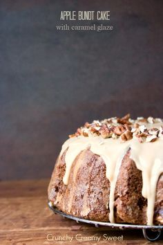 Apple Bundt Cake with Caramel Glaze by CrunchyCreamySweet.com |