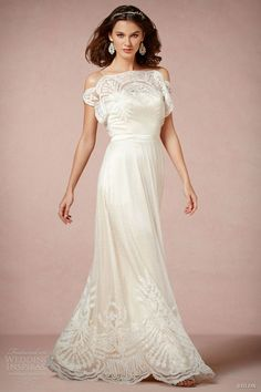 love the off-the-shoulder style but also the tiny little polka dots on the lace. bhldn wedding dresses 2013 omelia