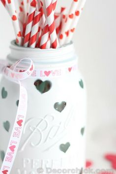 Decorate a mason jar for Valentine's Day with this kid-friendly and easy DIY craft.