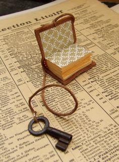 Teeny Tiny Book - Miniature Journal with Antique Key. $30.00, via Etsy.