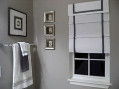 window treatment for gray bathroom