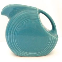 Vintage Fiesta disk pitcher in original turquoise by JanvierRoad,