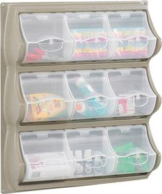 Safco 9 Pocket Panel Bins. I so love these and there are larger sets, too. One feature that's amazing is that the lids stay open whilst using and until you close them - how thoughtful is that! I do prefer my choice of grey rather than the black ;) Mo