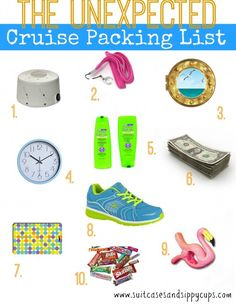 """Cruise Packing List of Unexpected Items. Look like a cruising pro and make everyone say """"why didn't I think of that?"""""""