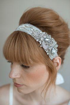 Bridal rhinestone headband - Rhinestone adorned silk chiffon headband - Style 011 - Made to Order on Etsy, $210.00