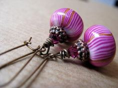 Peppermint  Pink Polymer Clay and Swarovski Crystal by BeadedTail, $15.00