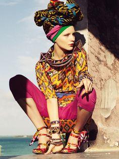 amazing print on print + pop colour fashion editorial.