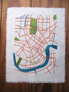 New Orleans Embroidered Map