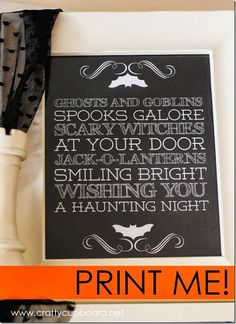 Ghosts and Goblins FREE Printable by the Crafty Cupboard