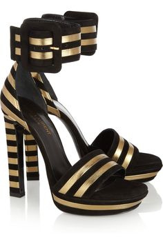 Saint Laurent  | Striped suede and metallic-leather sandals