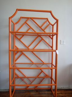 vintage Chinese chippendale etagere in Hermes orange
