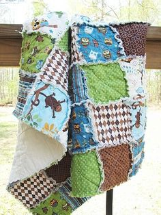 Rag quilt for baby boy!