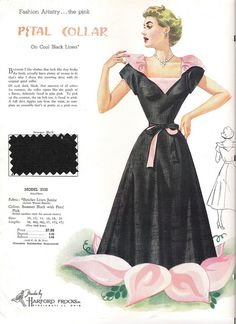 Be the chic belle of the ball in this captivating 1950s petal collared gown. #evening #gown #black #pink #dress #vintage #clothing #fashion #card #1950s #fifties