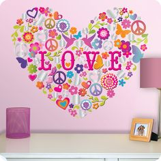 Love this heart collage decal for teen bedrooms and dorms!