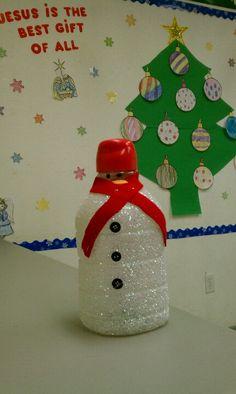 My version of creamer bottle snowman, using large creamer bottle and glitter. (Spray glue works best for applying glitter.)