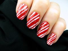 Glitter candy cane nails
