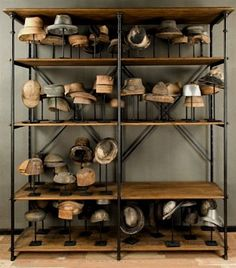 Great hat and hat block display.