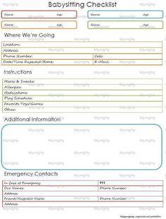 Babysitting Checklist / Child Care Notes -