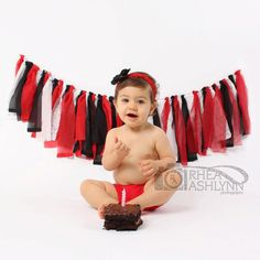 cute background!     Scrap Fabric Banner-  Red, White, Black Rag Garland - PHOTOGRAPHY PROP- Nusery Decor, party decoration. $30.00, via Etsy.