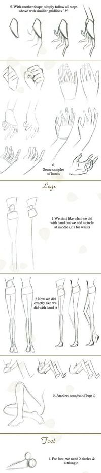 Simple sketching tips. Quick hand-legs-foot tutorial by `Hellobaby on deviantART