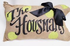 Polka Dot Monogram Name Burlap Pillow by kijsa on Etsy - Would be cute to match with outdoor furniture
