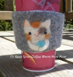 Needle Felted Cat Coffee Cozy Coffee Sleeve Cold by littleladyhead, $13.75