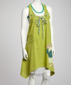 Take a look at this Green & White Layered Shift Dress by Premise Paris on #zulily today!