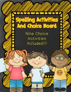 Free Spelling Activities With Choice Board
