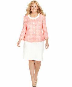 Le Suit Plus Size Crosshatch-Jacket Skirt Suit