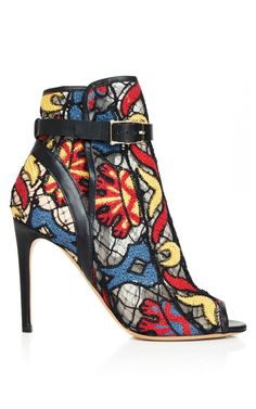 Black Rete Embroidered Bootie by Valentino - Spring 14