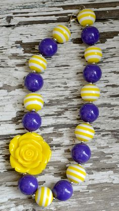 Girly girl glam LSU purple and yellow gumball chunky bead necklace.