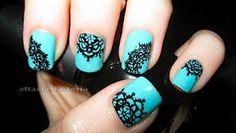 Lace design nails nail polish, turquoise, tiffany blue, black nails, nail arts, nail design, lace nail, blues, blue nails