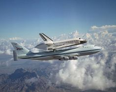 Space Shuttle Discovery hitched a ride on NASA's modified Boeing 747 Shuttle Carrier Aircraft for the flight from the Dryden Flight Research Center in California, to Kennedy Space Center, Florida, on August 19, 2005. NASA Image.