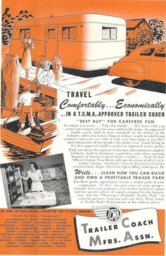 Vintage Travel Ad - RV Trailer Coach Family Vacation - 1940s tourism. $5.00, via Etsy.