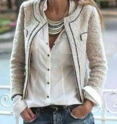 jean, fashion, statement necklaces, style, blazer, button, white shirts, outfit, jackets