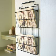 Hanging wire basket organizers with four bird folders too. Love.