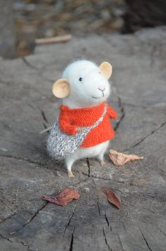 Little Traveler Mouse with Deep Orange Sweater by feltingdreams, $68.00