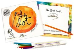 """The Dot: Make Your Mark Kit  Unwrap this marvelous new kit and embark on an unforgettable adventure of self-discovery, with the help of Peter H. Reynolds' classic book """"The Dot,"""" The Blank Book, and a set of beautiful watercolor pencils.  $24.99"""