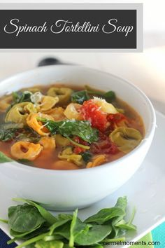 Spinach Tortellini Soup This tortellini soup is chock full of veggies and flavor. Perfect weeknight meal. Pair up with bread for a healthy lunch or dinner. Vegetarian too.