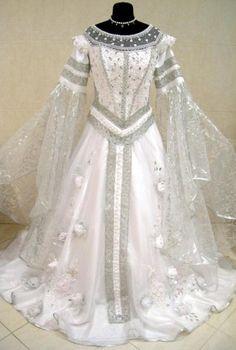 SILVER MEDIEVAL WEDDING DRESS VICTORIAN GOTH LARP M-L-XXL 12-14-16-18 WICCA ROBE | the Wicca Collectionary Keywords: #weddings #jevelweddingplanning Follow Us: www.jevelweddingplanning.com  www.facebook.com/jevelweddingplanning/