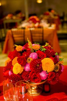 Centerpieces on pinterest tall vase centerpieces hello - Red and yellow centerpieces ...