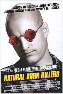 Natural Born Killers is a 1994 American crime/action film directed by Oliver Stone about two victims of traumatic childhoods who became lovers and mass murderers, and are irresponsibly glorified by the mass media. It stars Woody Harrelson and Juliette Lewis, along with Rodney Dangerfield, Robert Downey, Jr., Tom Sizemore, and Tommy Lee Jones.