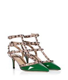 ValentinoPop Green/Powder Patent Leather Rockstud Kitten Heels