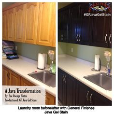 Sue Otenga Hintze totally transformed her kitchen cabinets with General Finishes Java Gel Stain.  What a difference! To get your own can of General Finishes Gel Stain visit your local Woodcraft or Rockler store, or you can find a retailer near you on our website: http://generalfinishes.com/where-buy#.UxDeq14ahow. Limited selections are also available at www.leevalley.com in Canada and Rockler Woodworking in the U.S. #generalfinishes #javagelstain