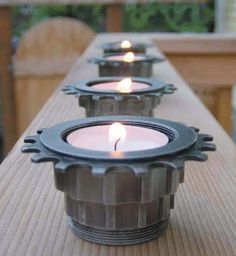 bike parts tea lights, cool idea. this makes me think of waht other things can be upcycled into tea lights