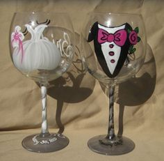 Our Bride and Groom with Gown and Tuxedo, $59.95 These hand painted wine glasses can be painted on a number of different glass types (white wine, red wine, pilsner, champagne flutes you can have them in any colors and made to say anything at  no extra charge.  (http://www.bybecca.com/bride-and-groom-with-gown-and-tuxedo/)