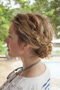 Braided bun for curly hair. Click on the photo for the how-tos.