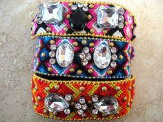 Boho Chic Hippie Gypsy Friendship Leather, Crystal Beaded Bohemian Bracelet...OOAK Bright Pink, Black, White.. Gold Ball Chain by LeatherDiva, $42.00