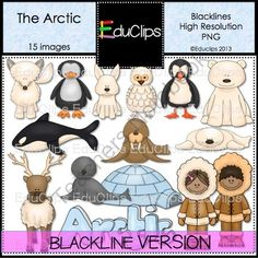 Arctic Clip Art Blacklines from Educlips on TeachersNotebook.com (15 pages)  - Arctic Clip Art animals and people. Black and white.