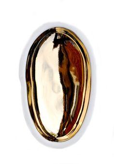 Gold Glazed Porcelain Pebble Dish